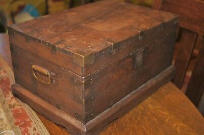 Antique Rajesthani Case Chest Wood w Brass Trim & Brackets Multiple Compartments