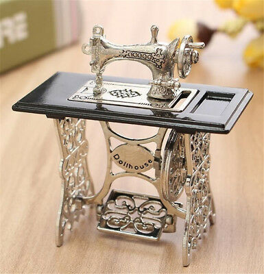 1/12 Dollhouse Miniatures Furniture Vintage Silver Sewing Machine Table Metal -