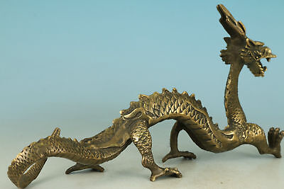 Chinese Old Bronze Collection Handmade Carved Dragon Figure Statue