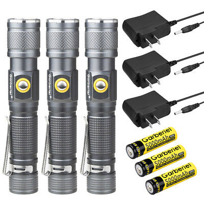LED T6 90000LM Flashlight Torch Lamp Zoomable+18650 Rechargeable Battery+Charger