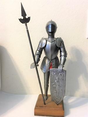 """Hand Carved Wood Medieval Knight In Movable Full Armor Shield Lance 15"""""""