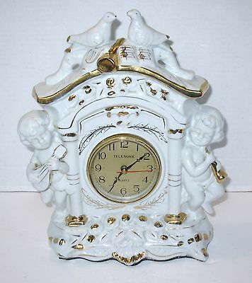 Vintage Ornate Telesonic Quartz Porcelain Cherubs & Birds Mantle Clock,Gold Gilt