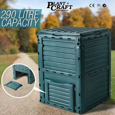 NEW 290L Capacity Aerated Food Waste Garden Compost Recycling Bin - Bottle Green