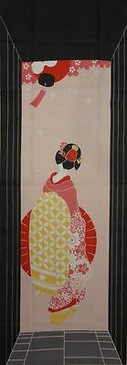 Tenugui Cloth Japanese Fabric Cotton 'Maiko Apprentice Geisha on Pink' Motif