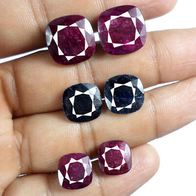 Lot of 3 Pair 50.80 Cts Natural Top Ruby & Sapphire Faceted Matched Gems Pair