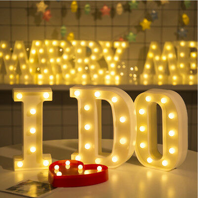Alphabet Letter Lights Led Light Up White Letters Standing / Hanging Party Decor