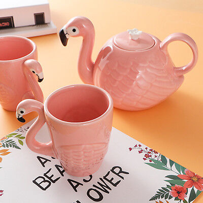 3D Flamingo Lovely Cartoon Coffee Tea Pot Drink Ceramic Mug Cup Gift Home Office