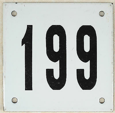 Old white French house number 199 door gate plate plaque enamel steel metal sign