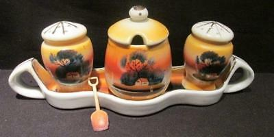 Condiment Set Sunset Design Vintage Tray Mustard Salt Pepper & Server Japan