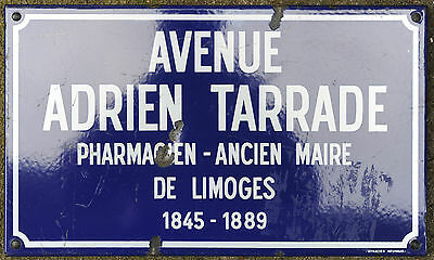 Old French enamel steel street sign plaque Ave Adrien Tarrade Mayor of Limoges