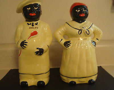 Salty Peppy Black Americana Salt and Pepper Shakers Mint Yellow Vintage Ceramics