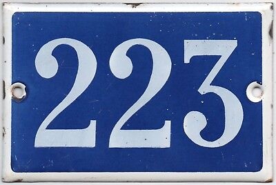 Old blue French house number 223 door gate plate plaque enamel steel metal sign