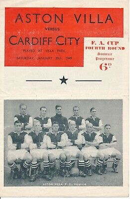 PIRATE PROGRAMME - Aston Villa v Cardiff City (FA Cup) 1948/9
