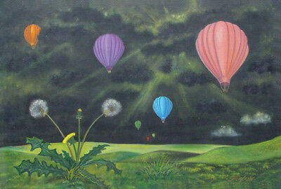 aceo Surreal GERLEVE Hot Air Balloons Dandelion Storm Art trading Card