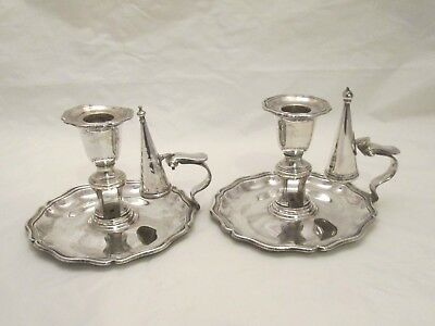 A Good Pair of Old Sheffield Plate Chamber Candlesticks c1800