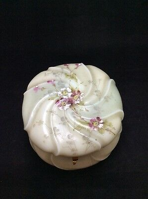 Wavecrest Antique Enameled Flowers Hand Painted Trinket Jar Beautiful!!