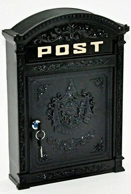 Wall Mounted Rustic Black Post Box wall letter mailbox Antique Cast Iron Effect