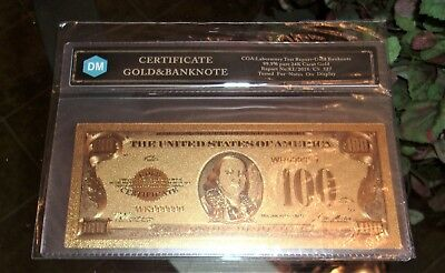 Fake 100 Dollar Gold 1928 Banknote = 999.9 24k Gold Plated = Bendable Plastic