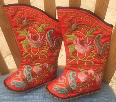Vintage Pair Chinese Embroidered Child's Silk Boots