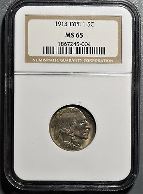 1913 Buffalo Nickel 5C Type 1 Five Cents Ngc Ms 65 Gb107