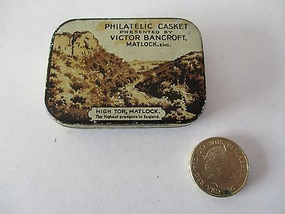 Vintage Stamp Collectors Tin - Philatelic Casket - Victor Bancroft , Matlock