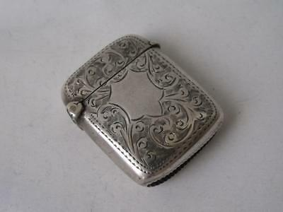 Pretty Hand-Engraved Antique Solid Sterling Silver Vesta Case 1905/ L 3.5 cm