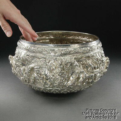 Thai / Southeast Asian Silver Repoussé Bowl, Figures & Animals, 19/20th Century