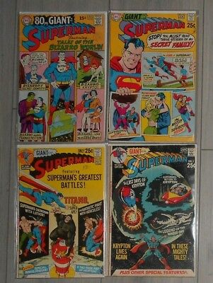 Lot Of 4 Superman  80 Page Giant Annuals , Silver Age