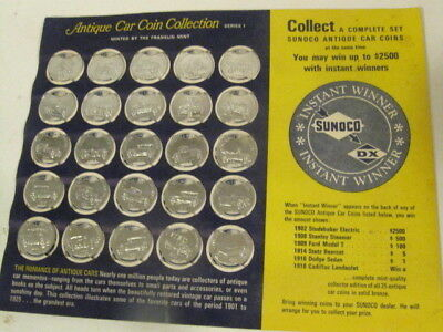 Complete Set 25 Sunoco Antique Car Coins On Card Gas Station Premiums