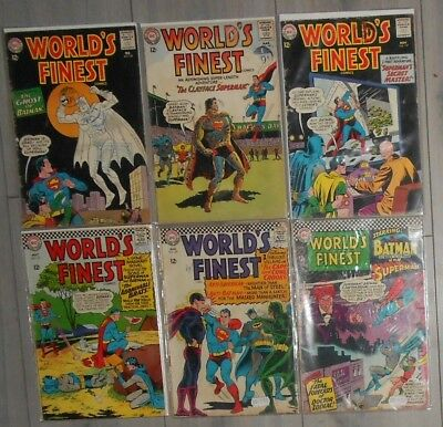 Lot Of 6 Worlds Finest Silver Age Comics , Batman , Superman. 1960S, Aquaman