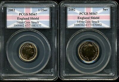 UK 2002 Sov & 1/2 Sov Golden Jubilee MS67 PCGS England Shield 1st Strike