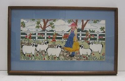 Vintage 80s/90s Handmade Cross Stitch Panel Little Bo Peep and Her Sheep Framed