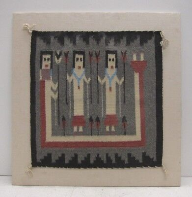 Mary Bedonie Genuine VTG Hand Woven Navajo Rug (Chinle) Mounted to Linen Canvas