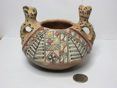 Precolumbian Polychrome Bowl With Geometric Colorful Decorations
