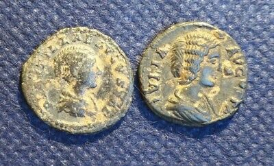 Lot Of 2 Uncleaned Silver Roman Ancient Coins Empress Julia & Plautella Scarce