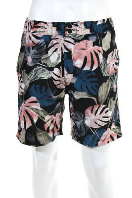 1293833b5c062 Saturdays NYC Mens Multi Color Floral Trent Monstera Swim Shorts Size M New