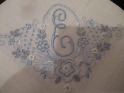 Vintage Madeira hand Embroidered monogram Blue E  hanky, linen, hand rolled