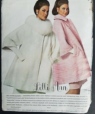 1967 LILLI ANN women's white fur collar and pink coat fashion ad as is