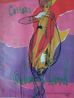 1959 Galey & Lord Women's cotton dress vintage fashion art color AD