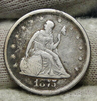 1875S Twenty Cent Piece 20 Cents -  Nice Coin, Free Shipping (7379)