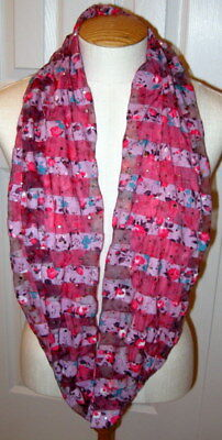 Justice Brand Girls Infinity Scarf Pink Floral Sparkly One Size Fits All