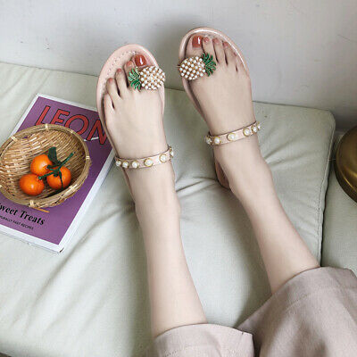 3ed9ce2b919 Womens Pearl Decor Pineapple Flats Casual Beach Summer Thong Sandals Flip  Flops