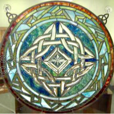 """Stained Glass Celtic Window 19.5"""" Diameter FREE SHIP"""