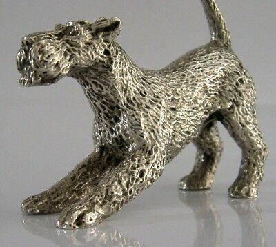 ENGLISH SILVER PLATE AIREDALE TERRIER DOG ANIMAL FIGURE c1950s