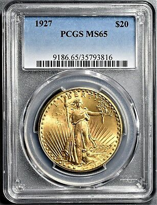 1927 $20 St. Gaudens Double Eagle Gold Coin Certified Pcgs Ms65  A6651