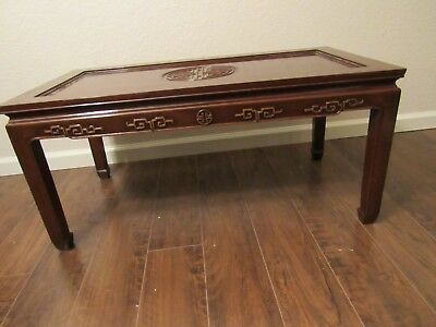 Vintage Chinese hand carved teak coffee table
