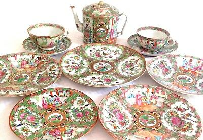 Antique Chinese Export Canton Famile Rose Medallion Teapot, Cups, Plates Set 10