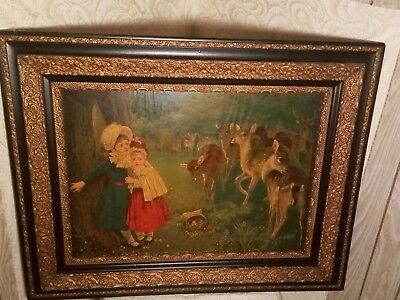 Antique Victorian Framed Print Deer & Young Girls In Woods Gesso ~ Stunning!