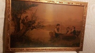 Antique Victorian Framed Print Family Boating Boy Sitting In Tree..stunning!