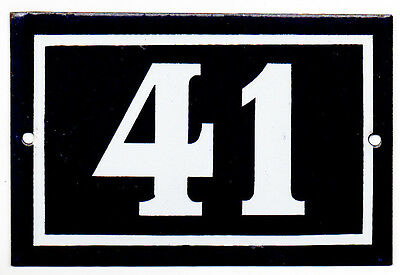 Old blue French house number 41 door gate plate plaque enamel steel metal sign